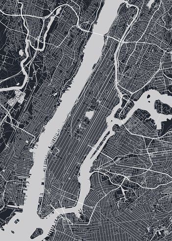Detailed borough map of Manhattan New York city, monochrome vector poster or postcard city street plan aerial view