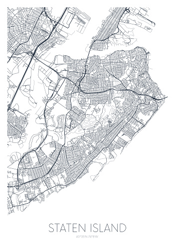 Detailed borough map of Staten Island New York city, vector poster or postcard for city road and park plan