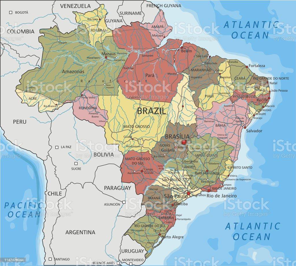 Physische Karte Lateinamerika.Detaillierte Politische Karte Brasiliens Stock Vektor Art Und Mehr Bilder Von Argentinien