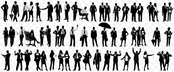 Detailed Business People Silhouette isolated Detailed Business People Silhouette isolated business silhouettes stock illustrations