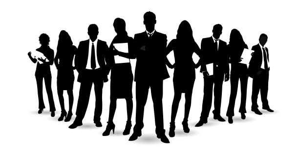 Detailed Business People Detailed Business People business silhouettes stock illustrations