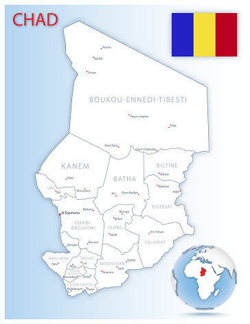 Detailed Chad administrative map with country flag and location on a blue globe.