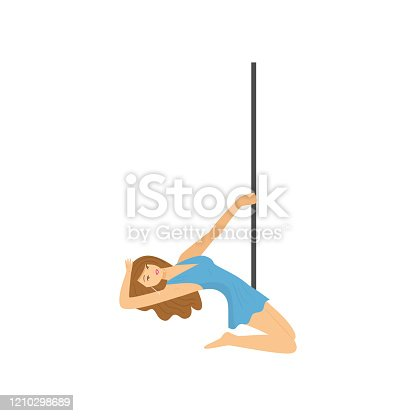 istock Detailed character girl kneeling at pylon isolated on white background 1210298689