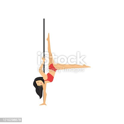 istock Detailed character woman pole dancer hanging upside down 1210298578