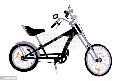 Detailed chopper bicycle vector illustration.