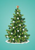 Vector illustration of detailed Christmas tree on turquoise background. Eps10, Ai10.