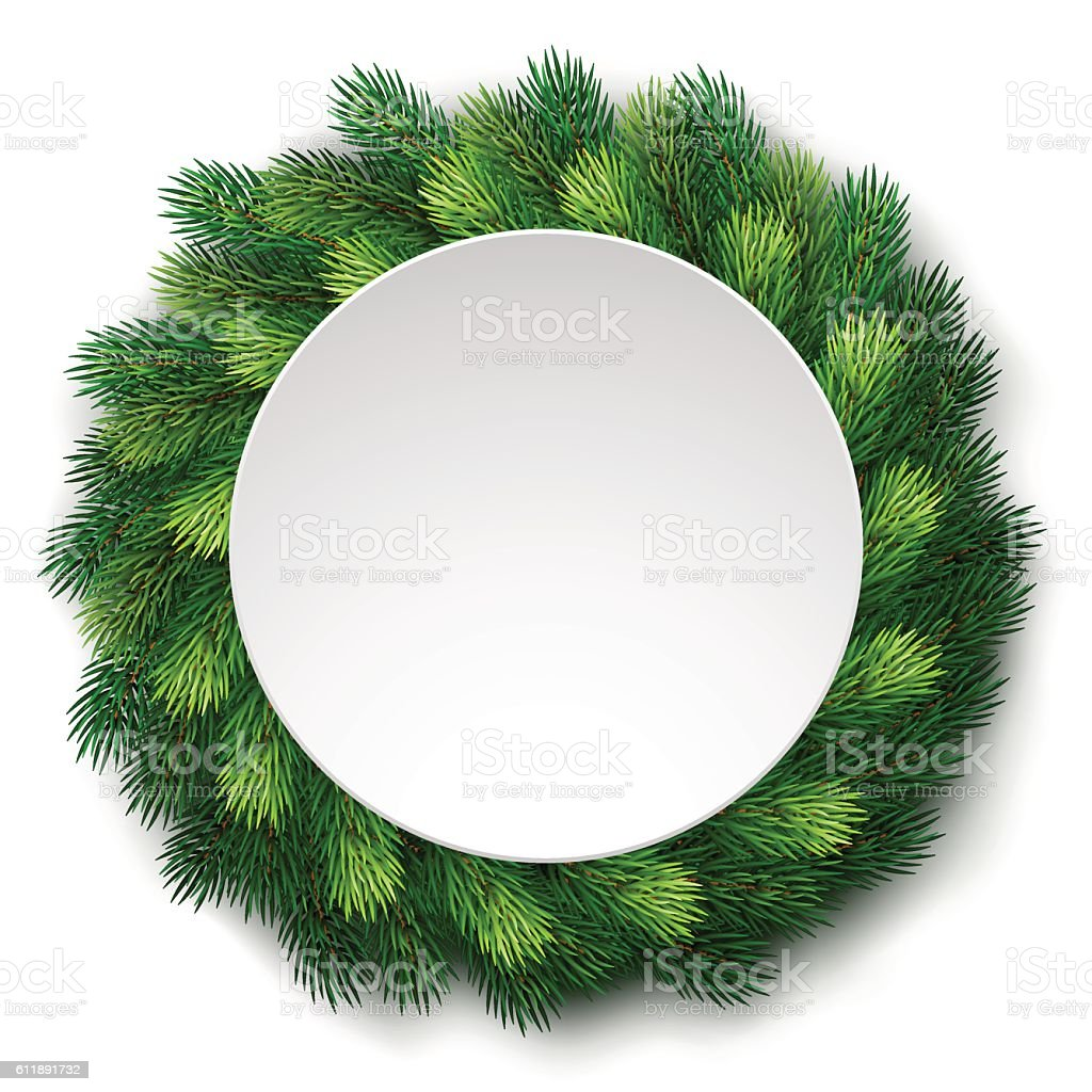 Detailed christmas wreath of fir branches with white board – Vektorgrafik