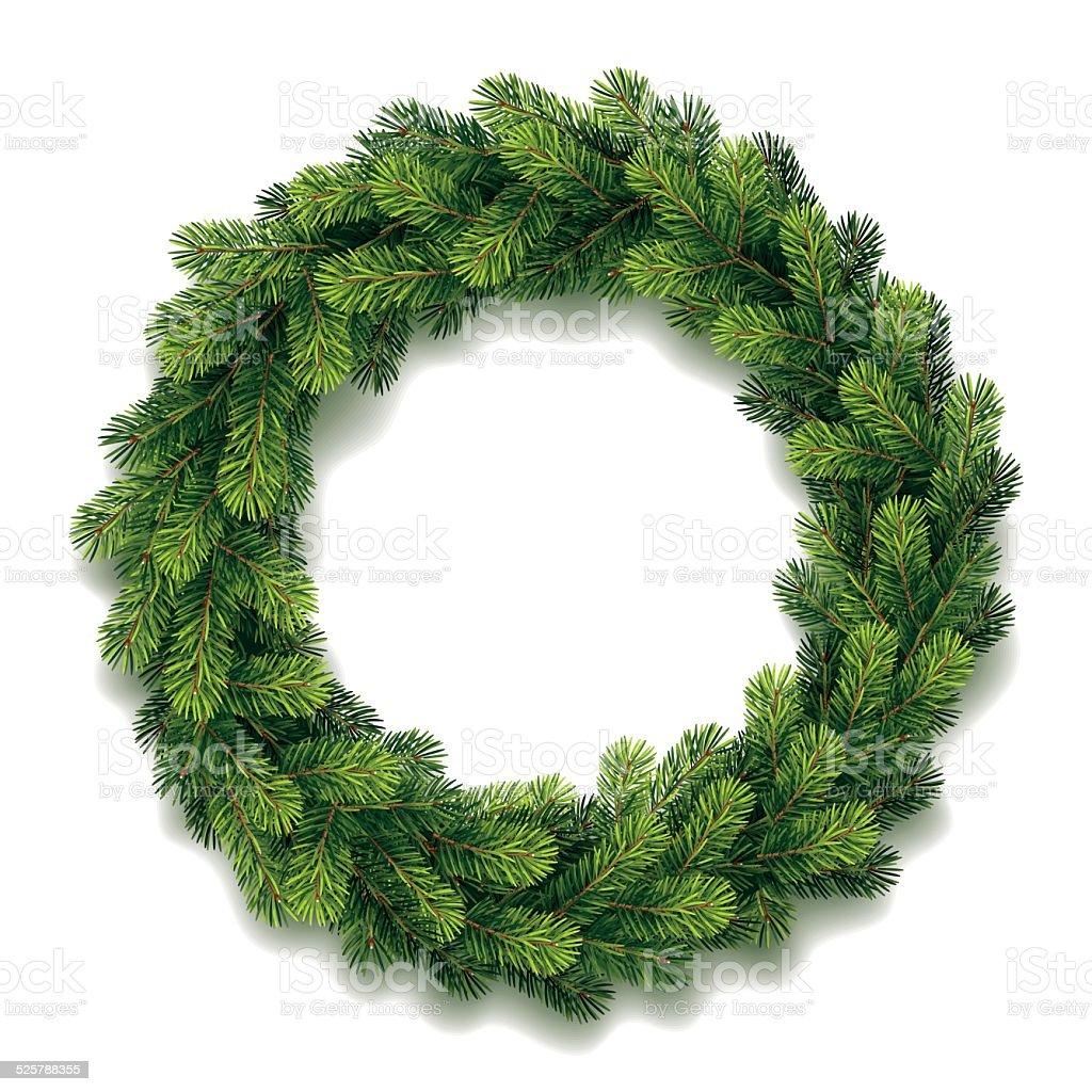 Detaillierte Weihnachtskranz – Vektorgrafik