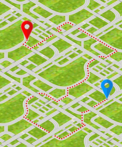ilustraciones, imágenes clip art, dibujos animados e iconos de stock de mapa detallado con los pernos gps y ruta - señalización vial