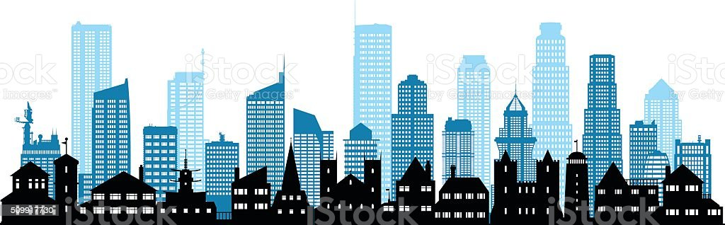 Detailed City (Each Building is Moveable and Complete) vector art illustration
