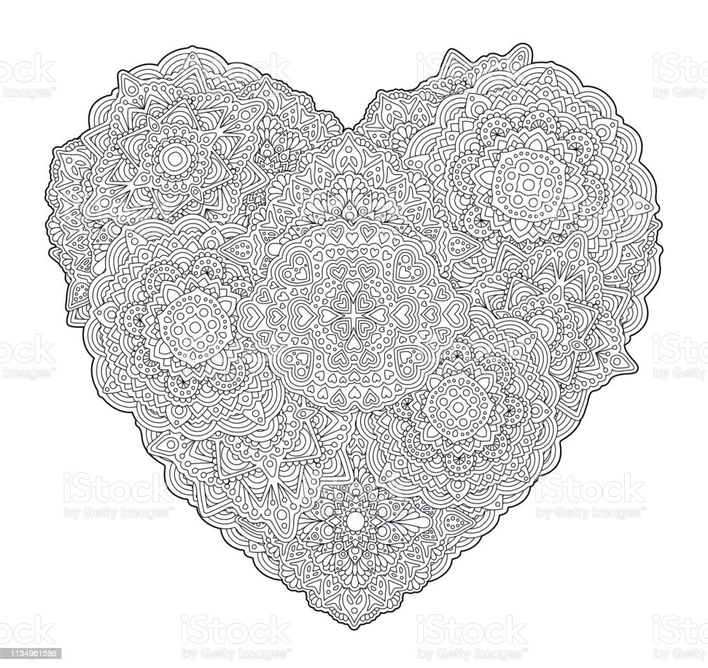Detailed Coloring Book Page With Shape Of Heart Stock Illustration