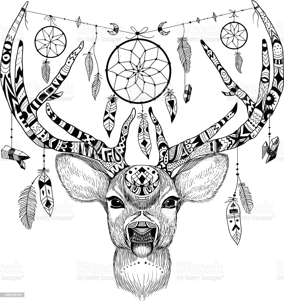 Detailed Deer In Aztec Style Stock Vector Art Amp More