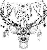 Detailed Deer in aztec (ethnic) style with dream catchers. Perfect for T-shirts, mugs and cases
