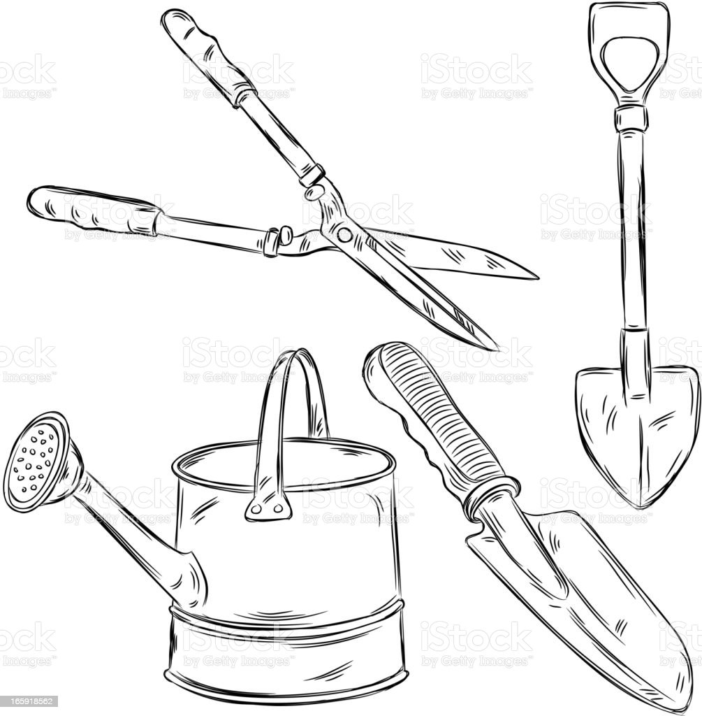 detailed drawings of gardening tools stock vector art