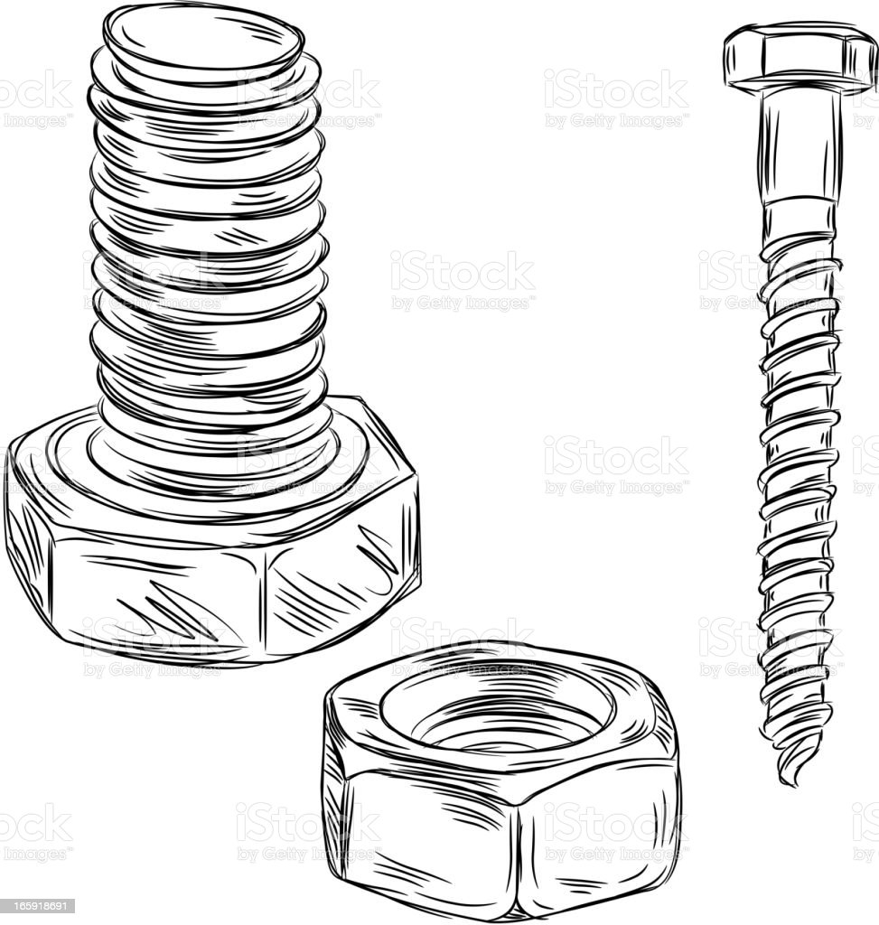 Royalty Free Nut And Bolt Art Drawing Clip Art, Vector