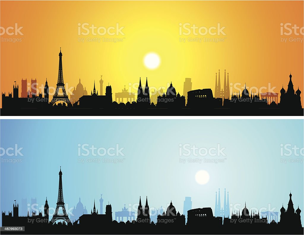 Detailed Europe Skyline (Each Building is Complete and Moveable) vector art illustration