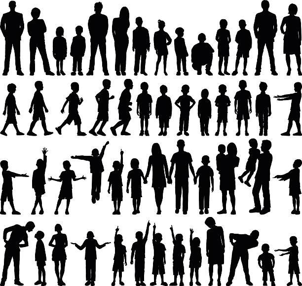 Detailed Families vector art illustration