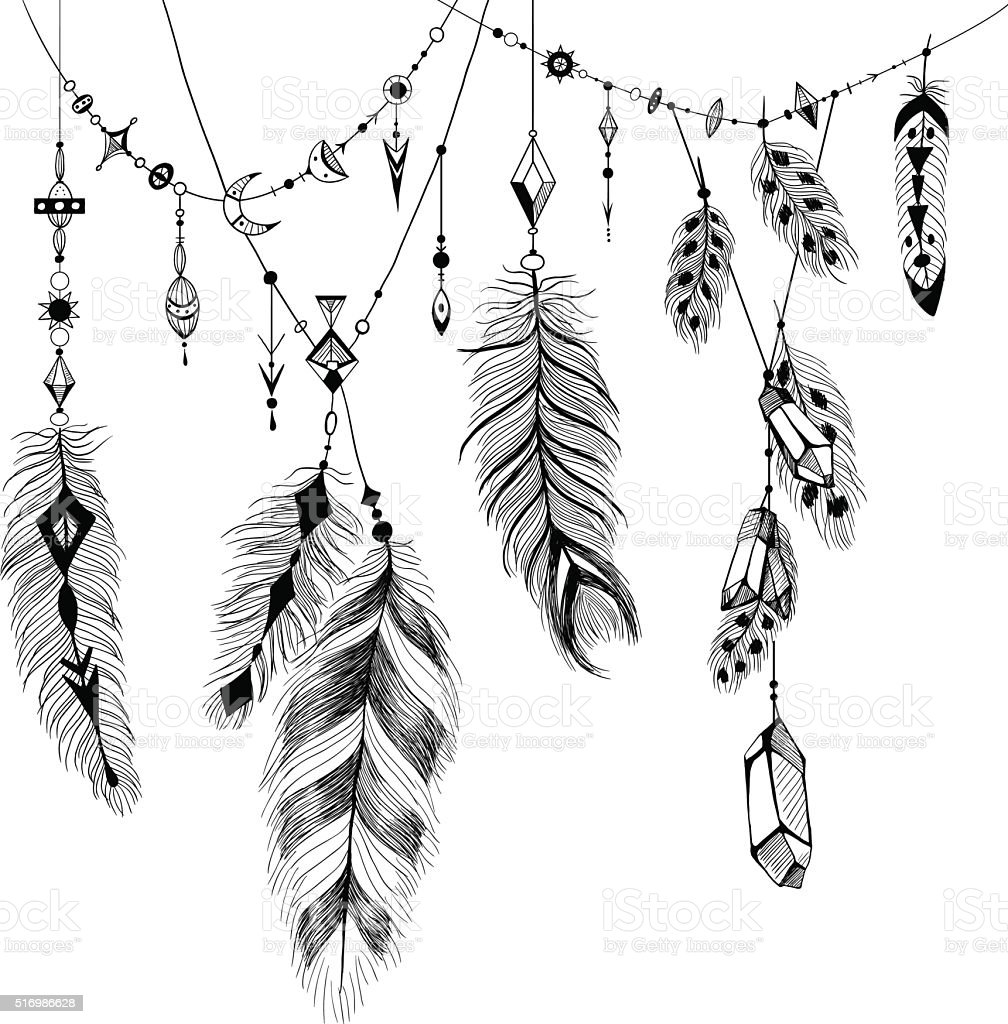 Detailed feathers in boho style. vector art illustration