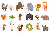 Set of funny animals. Horse, sheep, bison, elephant, lion, giraffe, squirrel, frog, wild boar, gorilla, toucan rhinoceros rat stork beaver crocodile parrot koala Detailed flat vector icons