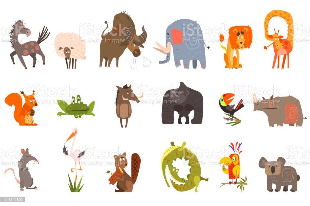 Detaillierte flache Vektor-Set von lustigen Tieren. Pferd, Schaf, Bison, Elefanten, Löwen, Giraffen, Eichhörnchen, Frosch, Wildschwein, Gorilla, Tukan, Nashorn, Ratte, Storch, Biber, Krokodil, Papagei, koala – Vektorgrafik