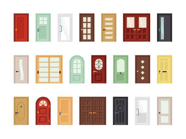 Detailed front doors flat vector icons set Detailed front doors flat vector icons set. Room, office doorway. Cartoon closed contemporary doors isolated on white background collection. Color house entrances modern design. Exterior elements door stock illustrations