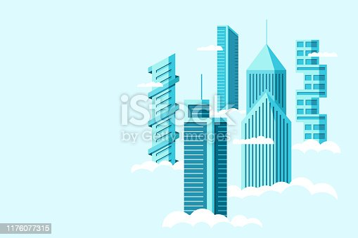 Detailed future city with different architecture high buildings skyscrapers apartments above clouds. Futuristic graphic cityscape town. Vector real estate construction over sky illustration