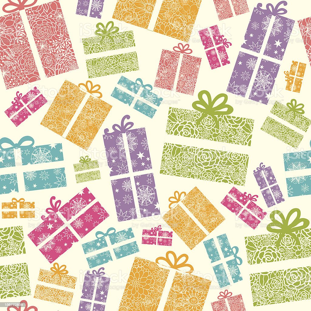 Detailed Gift Boxes Seamless Pattern Background royalty-free stock vector art