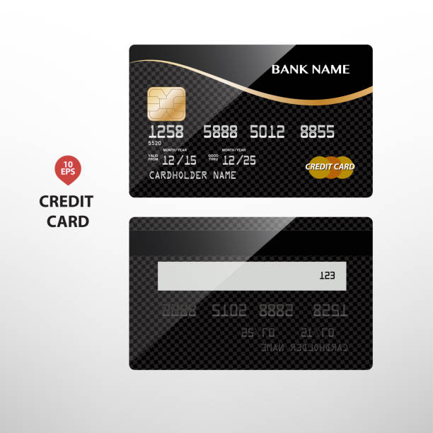 detailed glossy black and gold credit card - credit card stock illustrations