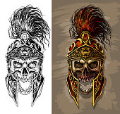 Detailed graphic realistic human skull in ancient metal ornate warrior helmet with golden lion face. On gray background. Vector icon set.