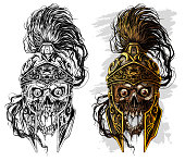 Detailed graphic realistic human skull in ancient metal ornate warrior helmet with golden lion face. On white background. Vector icon set.