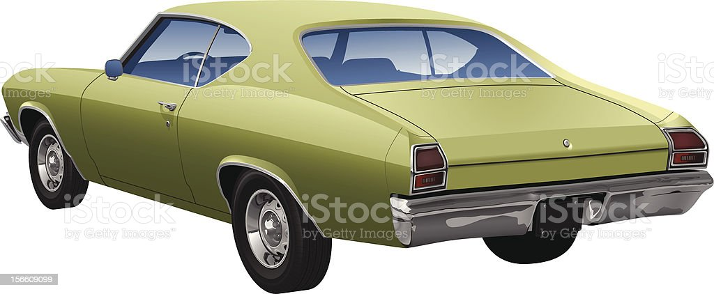 Detailed Green Sports Coupe Vector vector art illustration