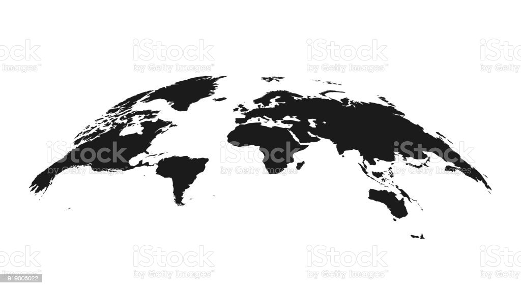 Detailed grey world map, mapped on an open globe, isolated on white background vector art illustration