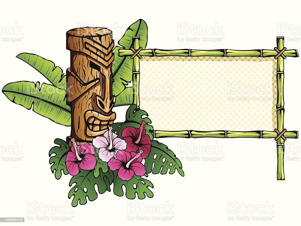 Detailed hawaiian banner with tiki statue vector art illustration