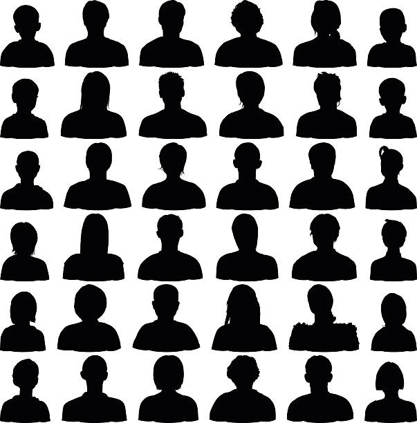 detailed head silhouettes - old man in black stock illustrations, clip art, cartoons, & icons
