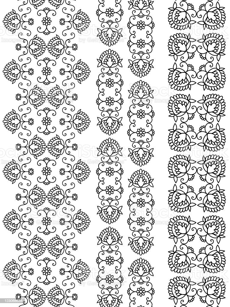 Detailed Henna Borders royalty-free stock vector art
