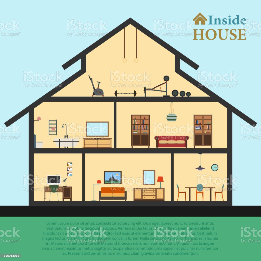 Detailed house in cut. Different modern furniture interiors. Flat style vector art illustration