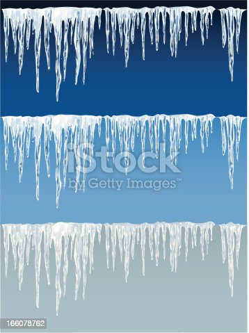 Detailed icicles in front of 3 different backgrounds. EPS8 vector illustration. Included: AI8, PDF and big JPG (3389 X 4521 px). The background is on an extra layer.