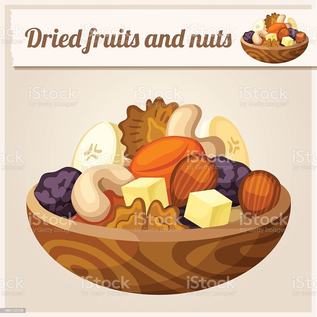 Detailed Icon. Dried fruits and nuts vector art illustration