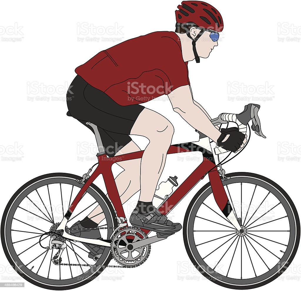Detailed illustration of a carbon fiber racing bicycle and cyclist vector art illustration