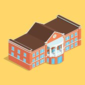 Detailed illustration of a Isometric European isolated Building.