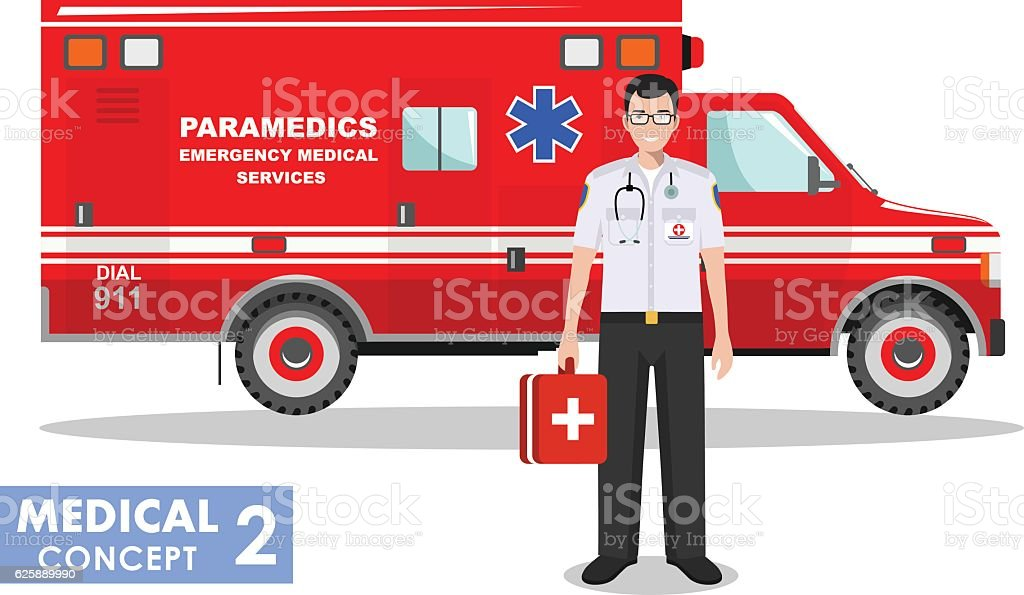 Detailed illustration of emergency doctor man and ambulance car. Vector. vector art illustration