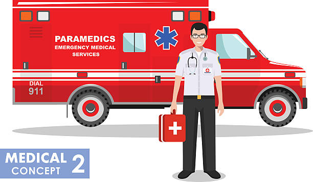 ilustrações, clipart, desenhos animados e ícones de detailed illustration of emergency doctor man and ambulance car. vector. - paramédico