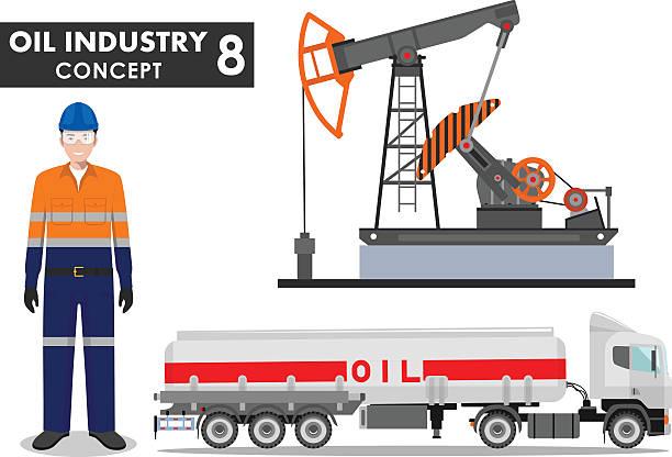 Detailed illustration of gasoline truck, oil pump and worker. Vector. vector art illustration