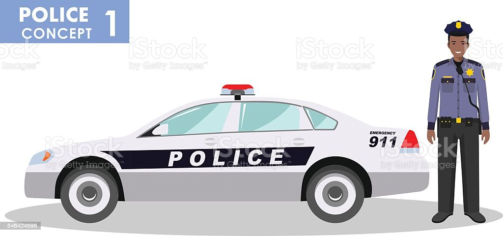 Detailed illustration of police car and police oficer. Vector illustration. vector art illustration