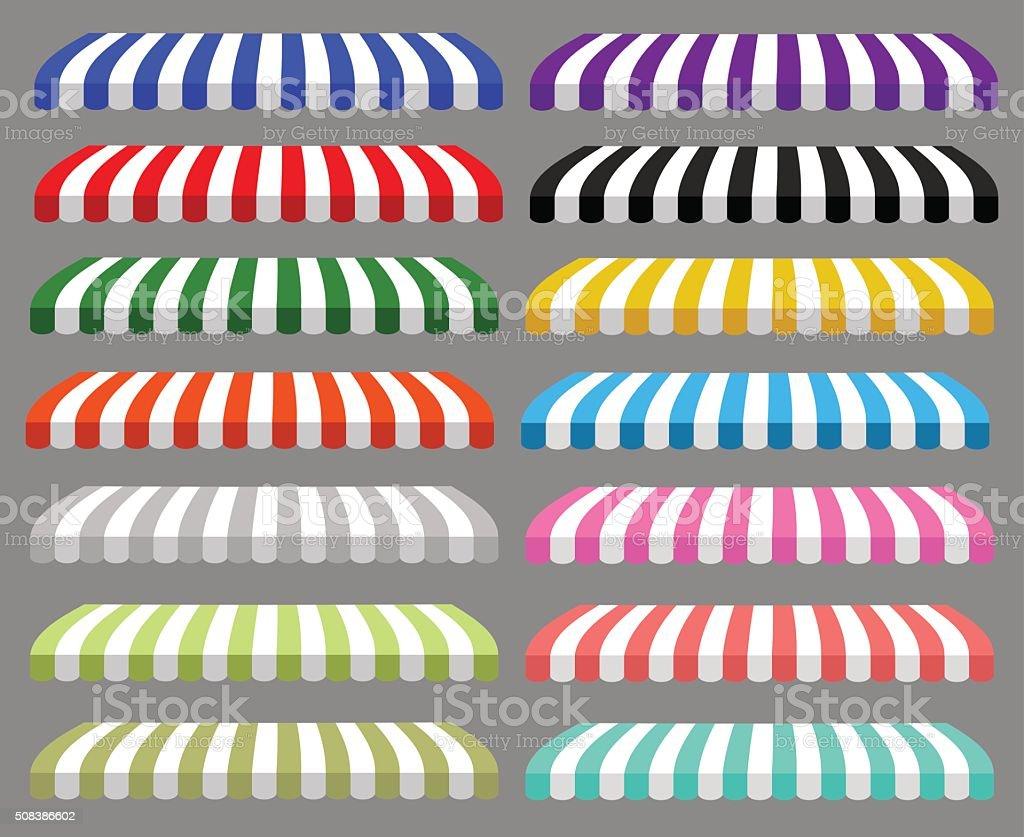 detailed illustration of set of striped awnings vector art illustration