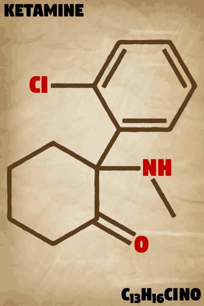 stockillustraties, clipart, cartoons en iconen met gedetailleerde illustratie van de molecule van ketamine - ketamine