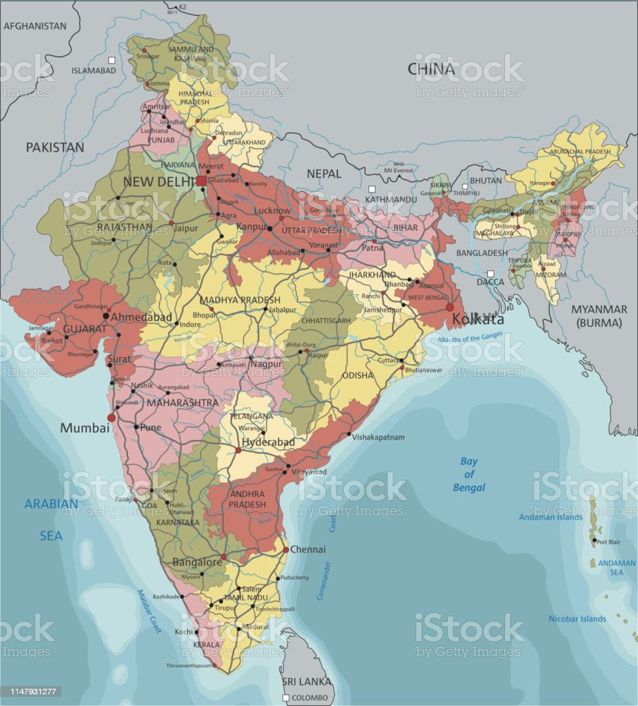 Detailed India Political Map Stock Illustration - Download ...