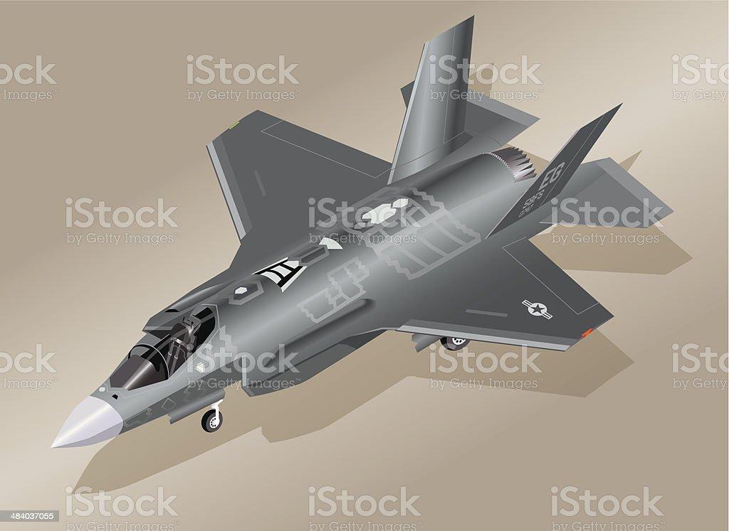 Detailed Isometric Illustration of an F-35 Lightning II Fighter vector art illustration