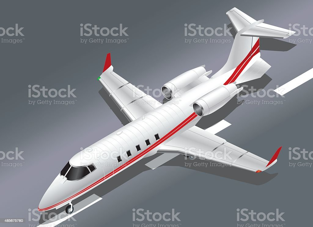 Detailed Isometric View of a Learjet 60 in take off vector art illustration