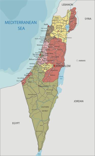 detaillierte politische landkarte israels. - haifa stock-grafiken, -clipart, -cartoons und -symbole